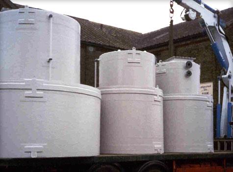 2. GRP fibreglass moulded storage tanks.