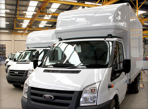 1. Moulded cab roofs for Luton Transit commercial vans.