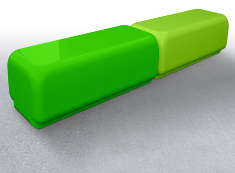 5. Bench Two with funky large curve edges, for schools, clubs and sports facilities.