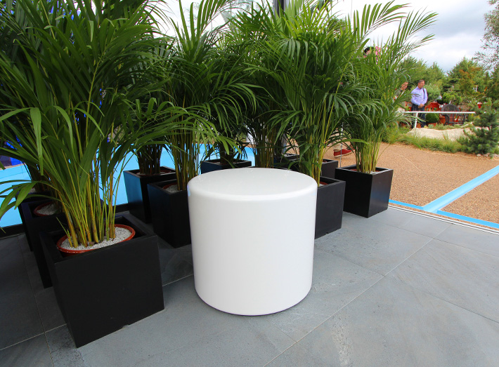 Our GeoMet white cylindrical Drum seats are also included in the original garden design.