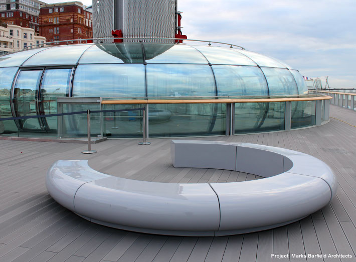 Corona seating. A stunning contemporary composite seating concept to complement the futuristic British Airways i360 pod.