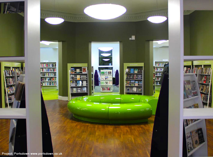 Halo seating installed at Christchurch Library, in Dorset.