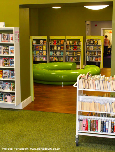 Halo seating creates a relaxing reading area.