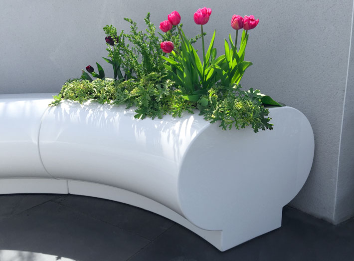 Halo planters - exceptionally durable, weatherproof and require minimal maintenance.