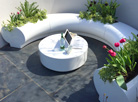 Halo seating and planters at RHS Malvern show...