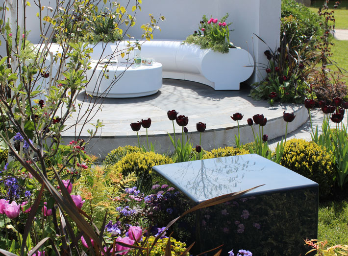 Cube seats featured at this year's RHS Malvern Flower Show.