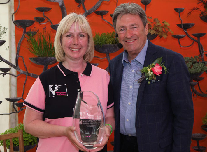 Silver Award and Peoples Choice winner Nikki Hollier with Alan Titchmarsh at RHS Malvern.