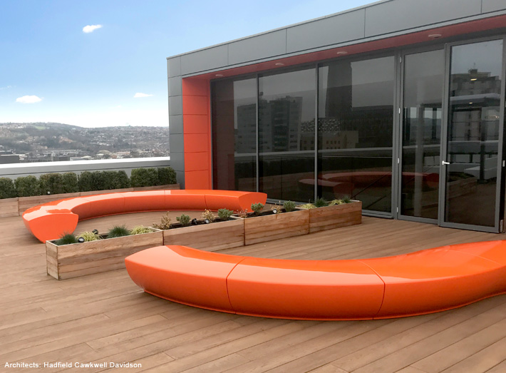 Sleek and stylish Serpentine seating was specified for the contemporary rooftop terrace.