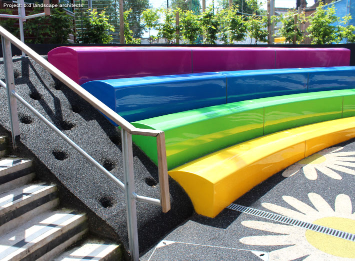 Arena seating adds form and function to all large scale outdoor areas, exhibition spaces, foyers and lobbies.