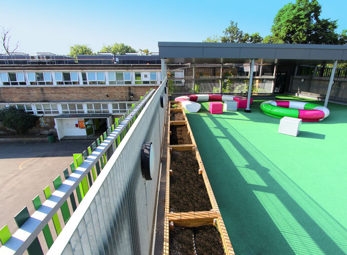 Earlham Primary School in Stratford, London, wanted to create colourful fun spaces for the children to engage with their learning and play.