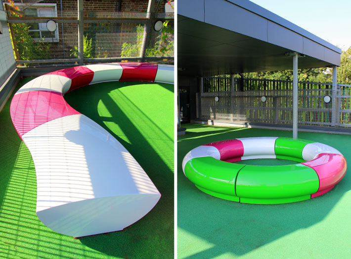 The school specified outdoor furniture that could stand up to the rigours of school life and create flexible spaces.