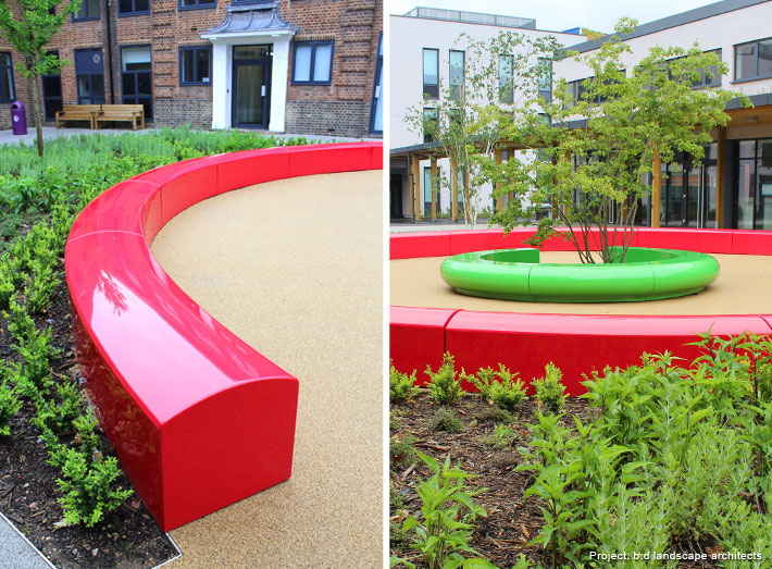 Arena has a sweeping curve and low height that can be used to great effect as a border or divider in exterior or interior meeting areas.