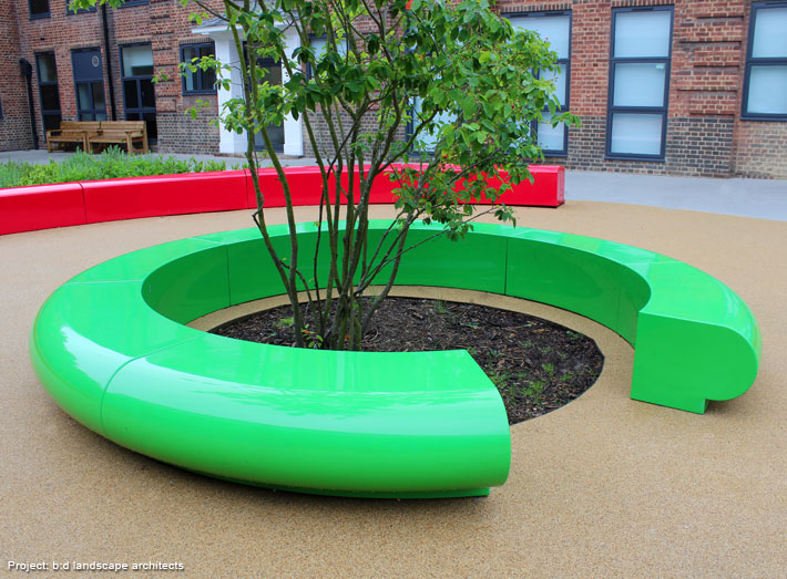 Corona seating creates a large eye-catching centrepiece that would also provide additional outdoor seating to a prestigious school in London.
