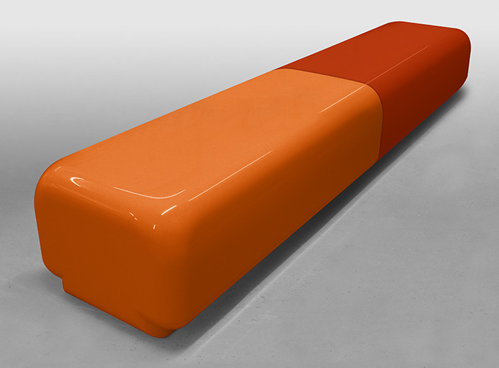 Morph bench seating, end option - modular sections fit together to create wider seating spans.