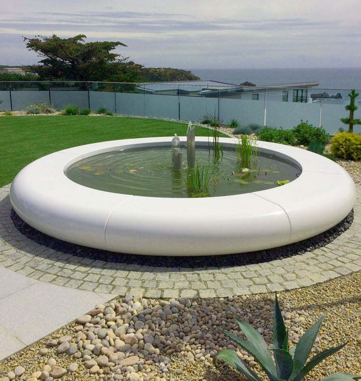 The Aqua Corona Water Feature is 4m in diameter and is available as a full circle or semi-circular construction.