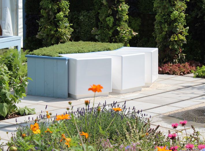 Sustainable, waterproof, cube shaped seating area, RHS Tatton Park Flower Show