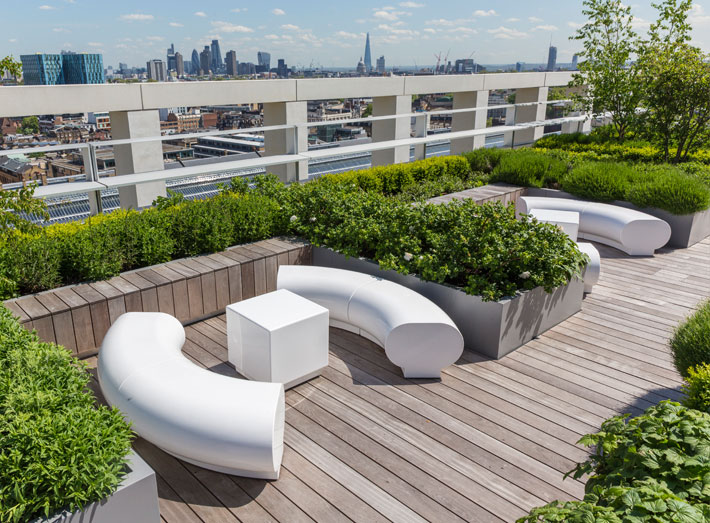 modern seating for prestigious office roof top garden 2
