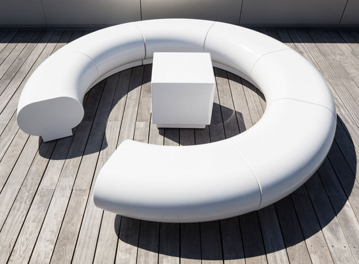 Halo seating, and Cube tables are composite moulded, extreamly durable, weatherproof and vandal resistant.