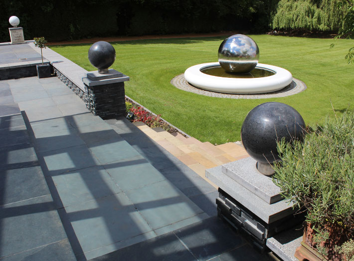 A circular hand-crafted water feature designed to transform domestic, urban or commercial landscapes.