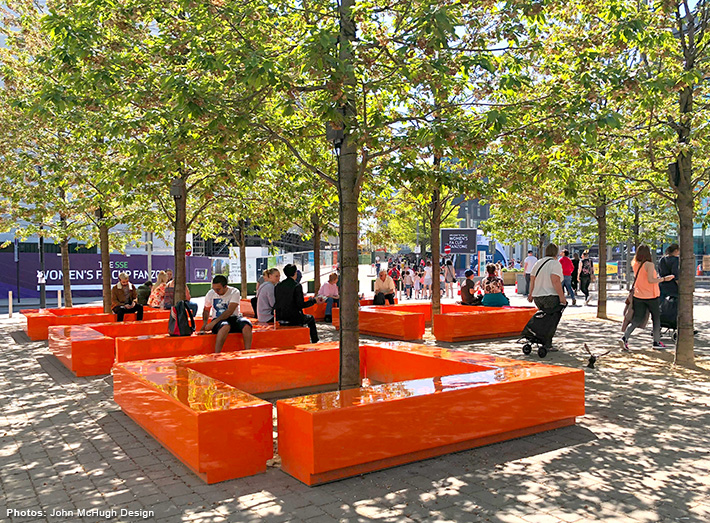 Bench seating has been installed into Wembley Park, London to create a striking sculptural centre piece.