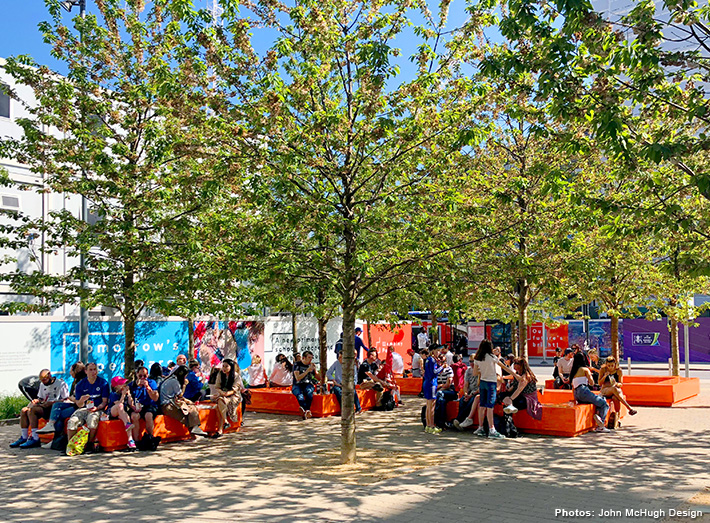 The majority of the time the Benches sit around green spaces in Market Square to give the community somewhere to rest or enjoy lunch from the adjacent Food Market, whilst also adding a striking centrepiece to the urban landscape.