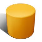 Drum stool seat in orange