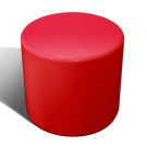 Drum stool seat in red