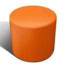 Drum stool seat in tangerine