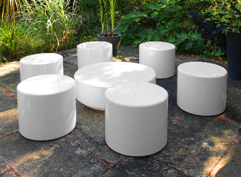 1. Drum Set - six seat arrangement with matching low coffee table.
