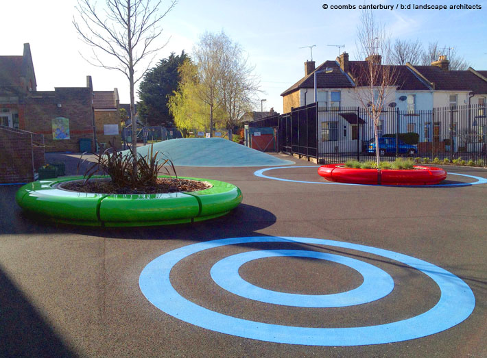 7. Modern seating ideal for school and play areas.