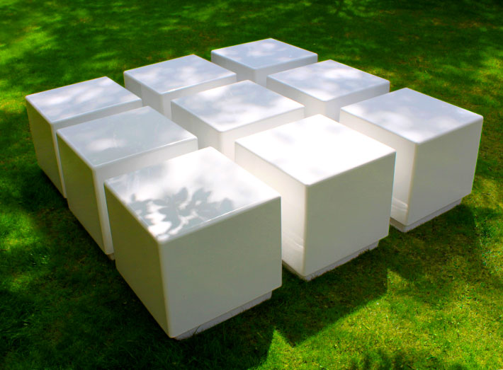 Cube seats, tables and planters are strong and durable.