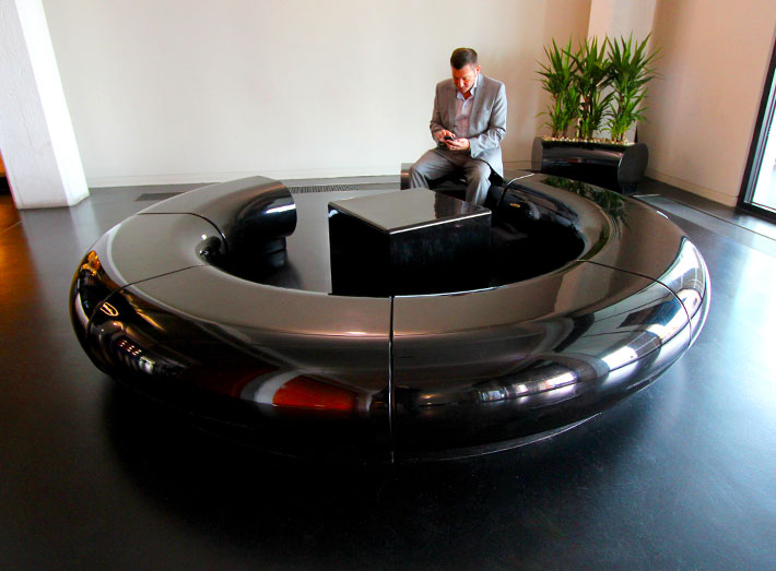 Halo seating for corporate and commercial buidling interiors and exteriors.