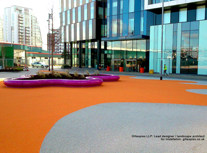 Halo modular seats in pink RAL 4006 at MediaCityUK a new waterfront destination for Manchester.