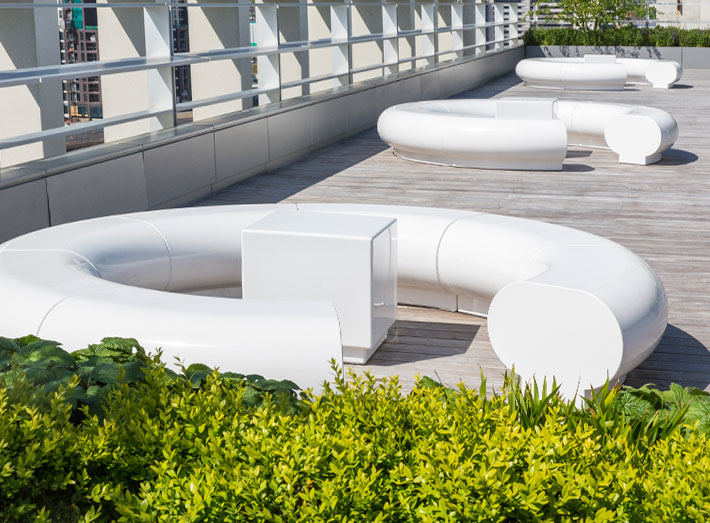 Halo white seating - Kings Cross, Pancras Square, London roof top garden.