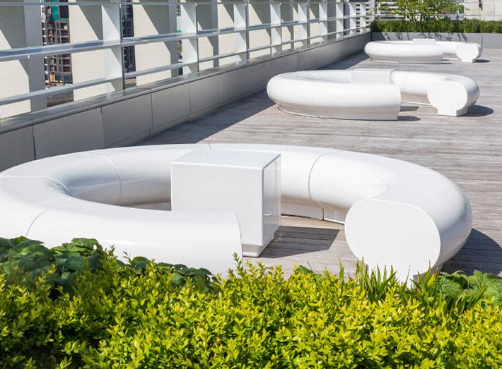 Halo white seating - Kings Cross, Pancras Square, London roof top garden.
