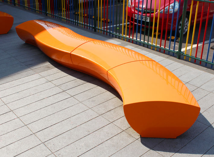 Serpentine seating - durable furniture that stands up to the rigours of heavy everyday use.