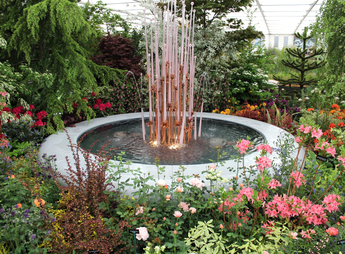 9. The Aqua Corona water feature was specified to create a centrepiece at the Chelsea Flower Show.