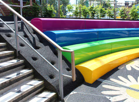 2. Playground colours and seating levels create a fun learning environment.