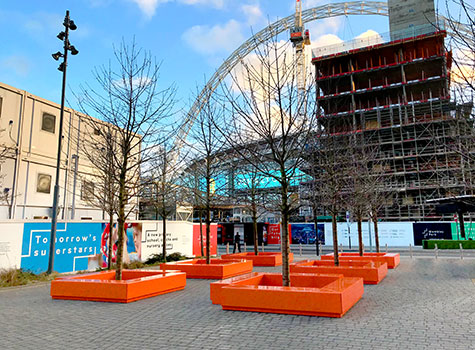 1. L shaped bench arrangements were created to be placed in Wembley Park...