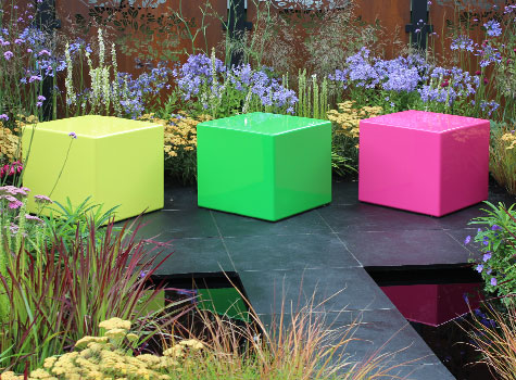 1. Bright coloured Cube seating at the RHS Flower Show, Hampton Court.