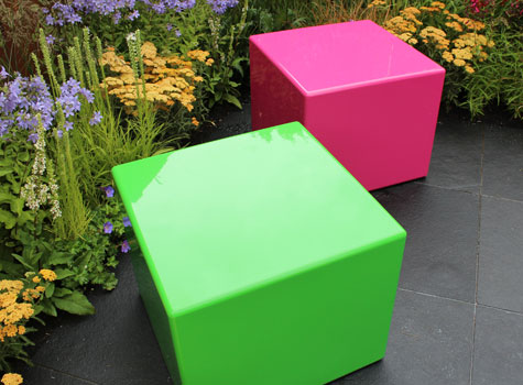 10. Bright coloured Cube seating at the RHS Flower Show, Hampton Court.