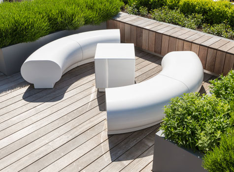 2. Halo white seating - complements the high-end design of the building.