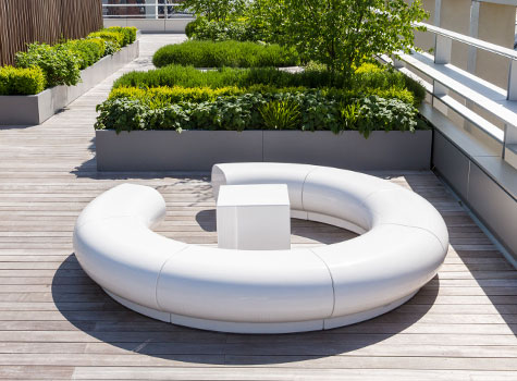 1. Halo white seating, Kings Cross, Pancras Square, London roof top garden.