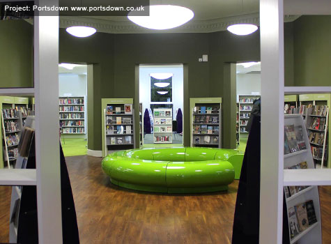 9. Halo seating in green for a public library project.