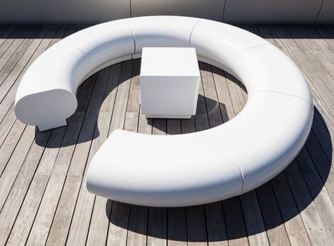1. Halo modular seating for a roof-top garden, Kings Cross, London.