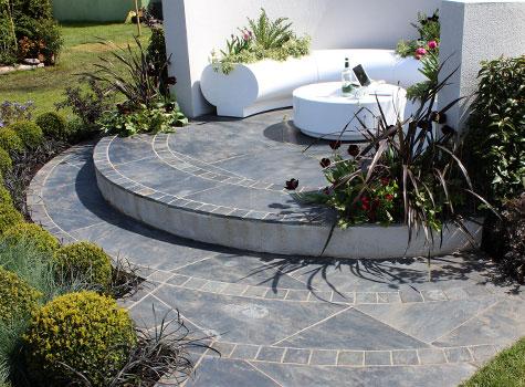 2. Halo planters - award winning RHS Malvern garden design.