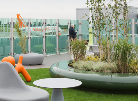 1. Circular planter and seating at Bristol Airport.