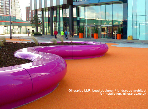 1. Halo modular seats in pink RAL 4006 at MediaCityUK waterfront in Manchester.