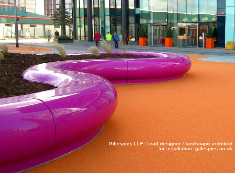 3. Halo pink modular seats - Media City waterfront studios and offices in Manchester.