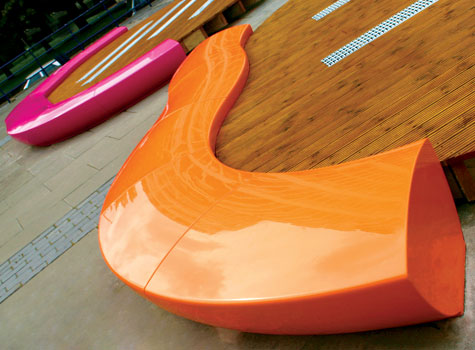 3. Serpentine seating, moulded in strong, durable, high quality GRP.